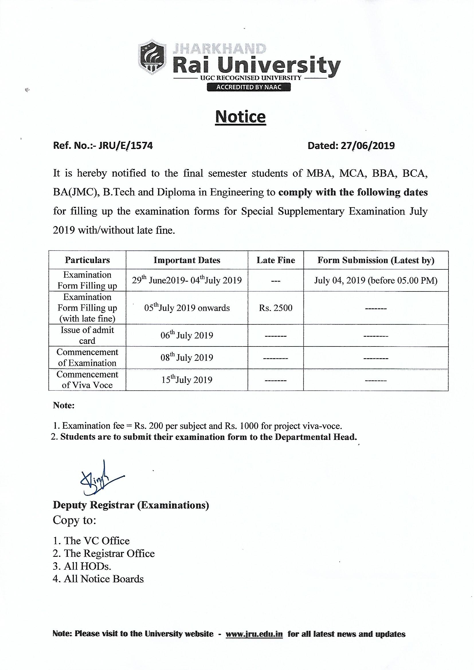 Notice for the examination form filling up date of Special