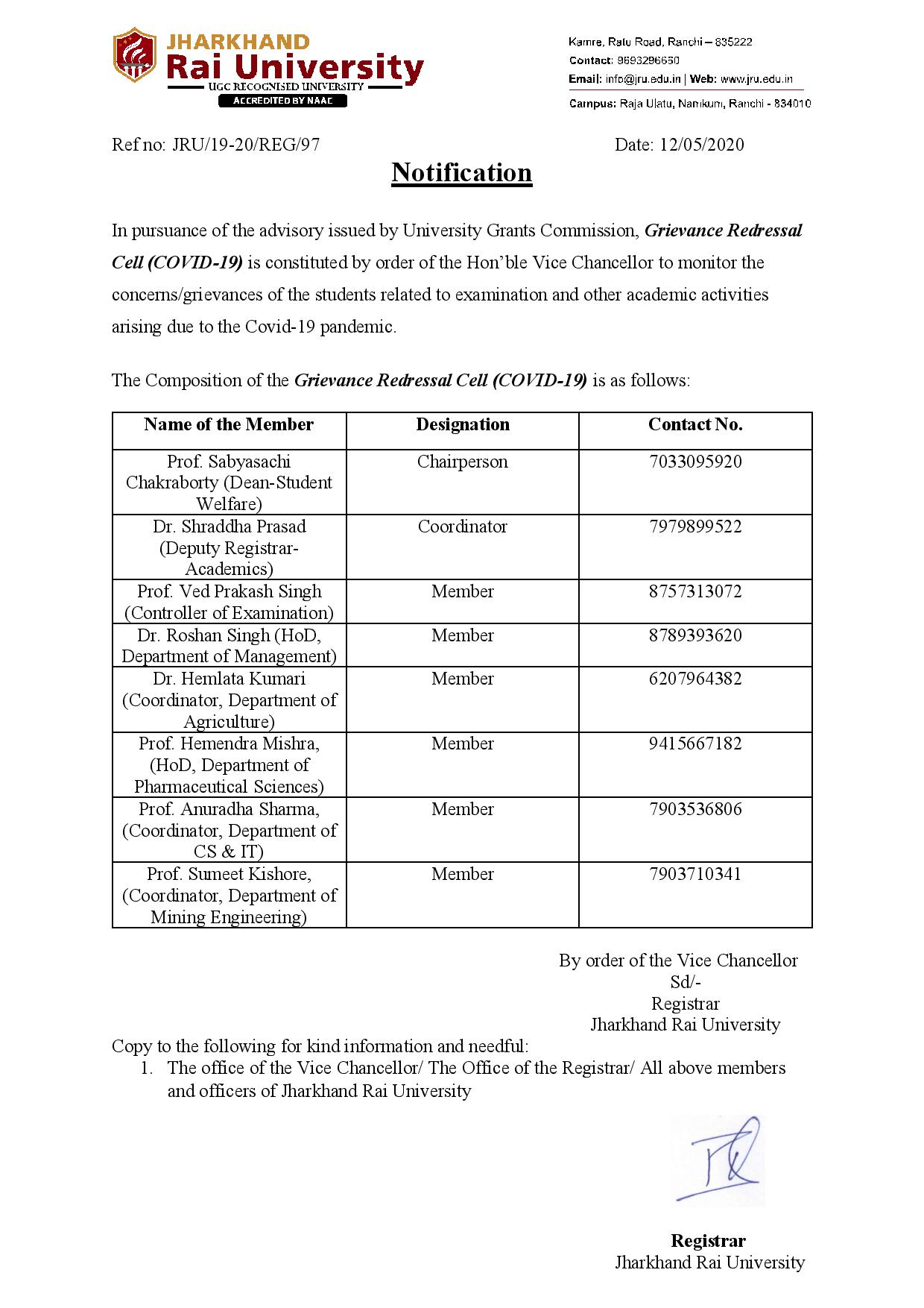 Grievance Redressal Cell for COVID-19-1
