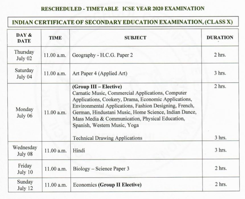 ICSE EXAM DATES 2020