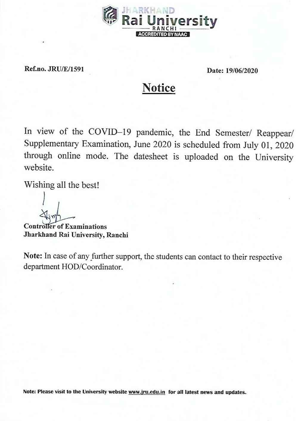 Notice-Semester Reappear Supplementary-Exam