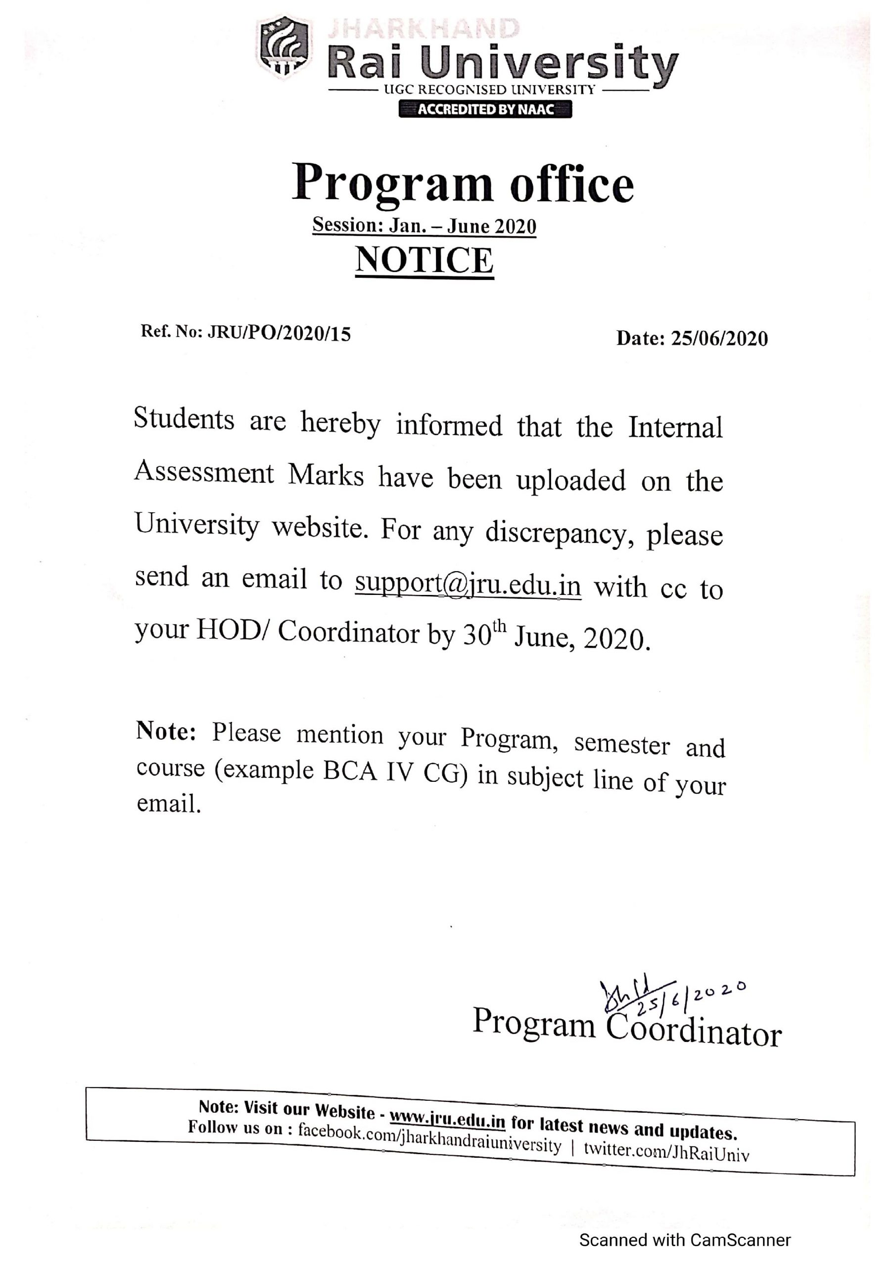 Notice Regarding Internal Assessment Marks