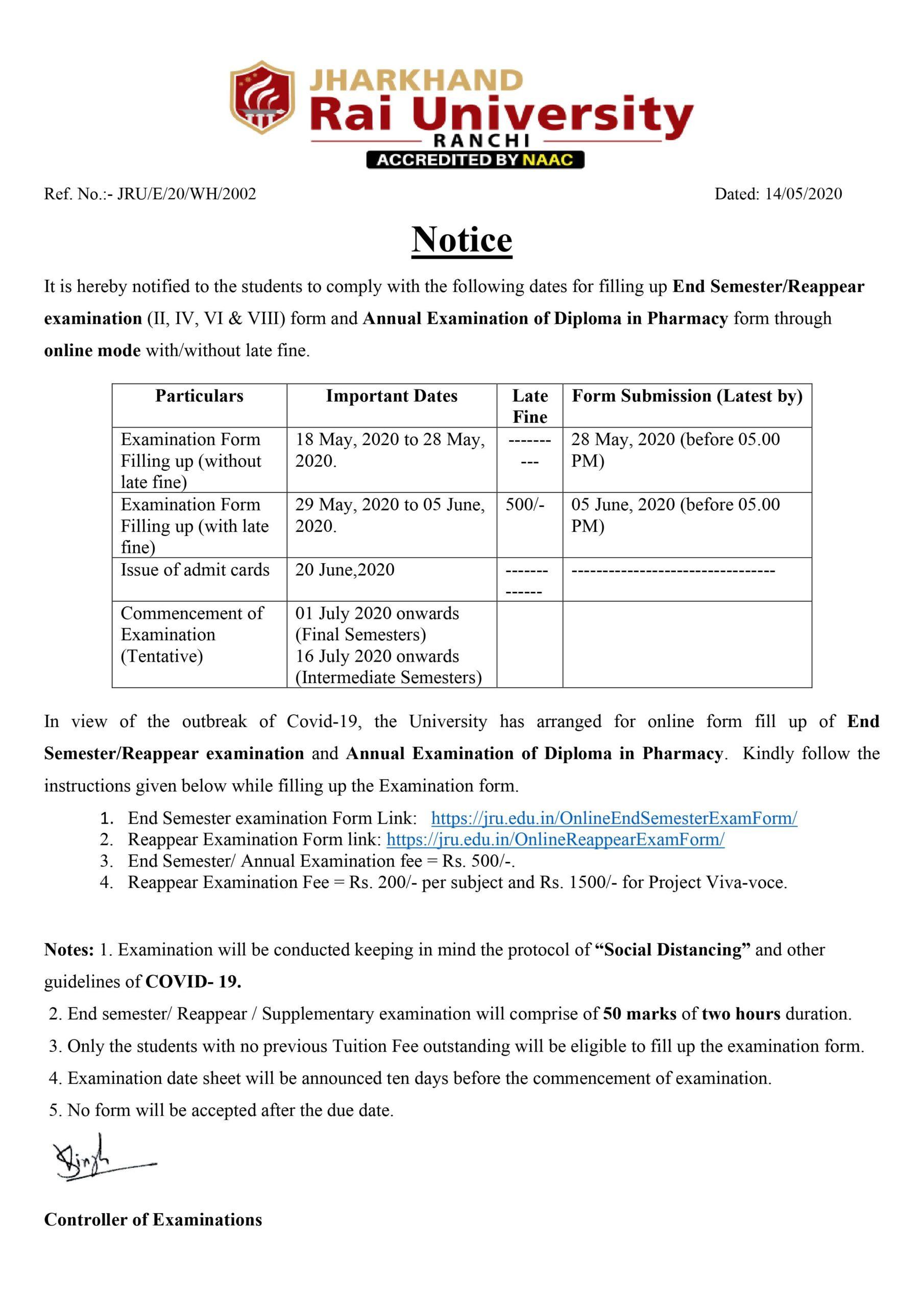 Exam Notice End Sem June_2020