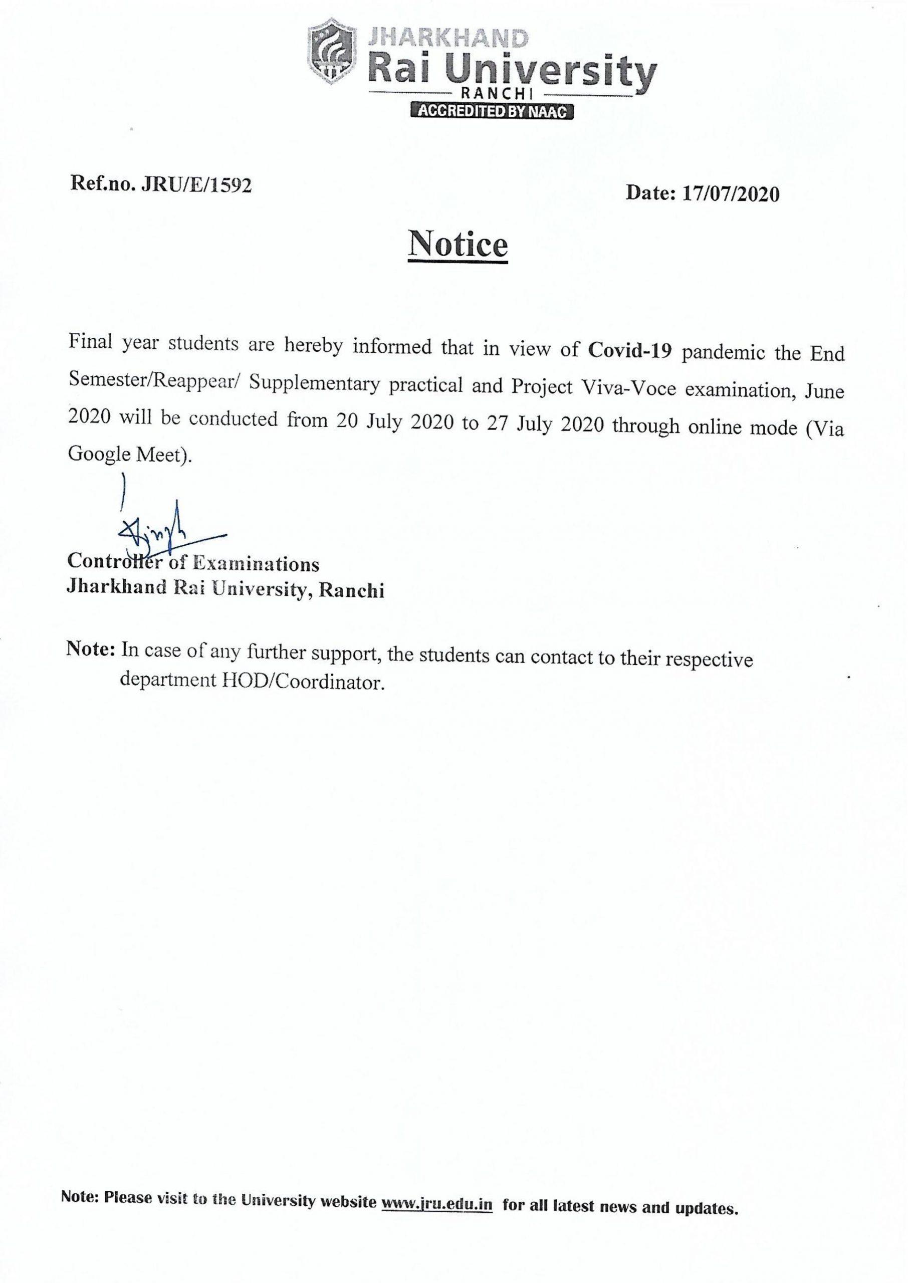 notice regarding End Semester