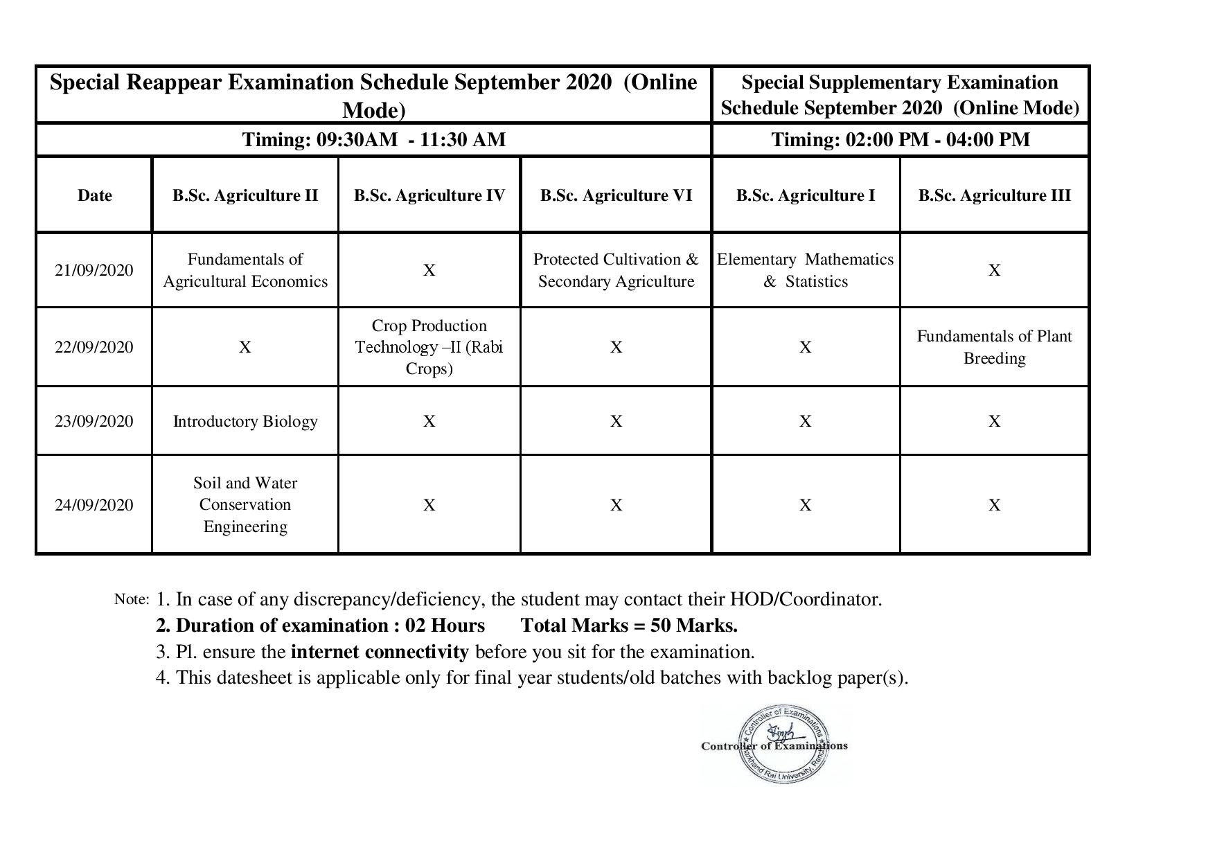 B.Sc. Agriculture Supple & Reappear Datesheet Sept 2020-page-001