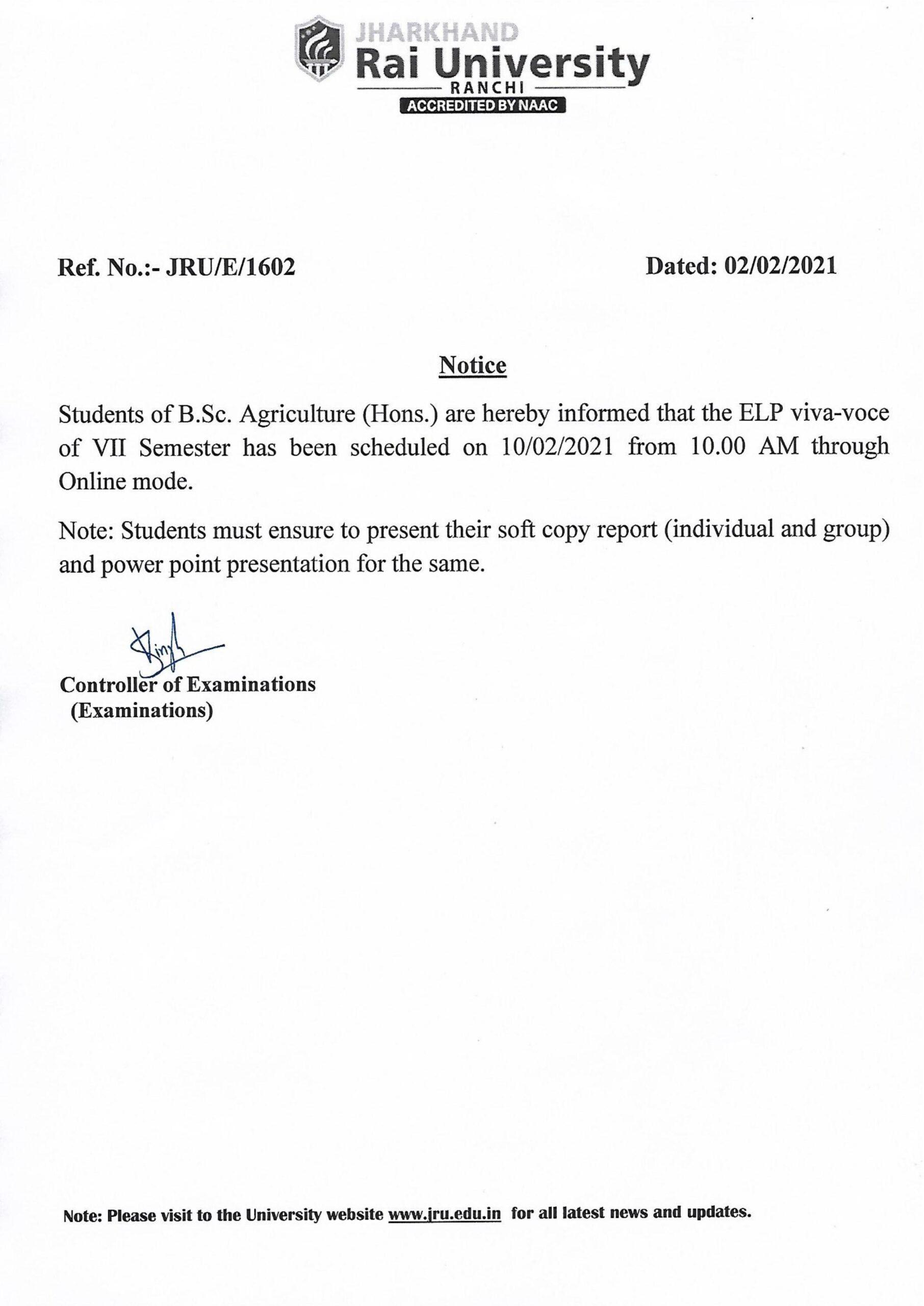 Notice 1602 Feb 2021