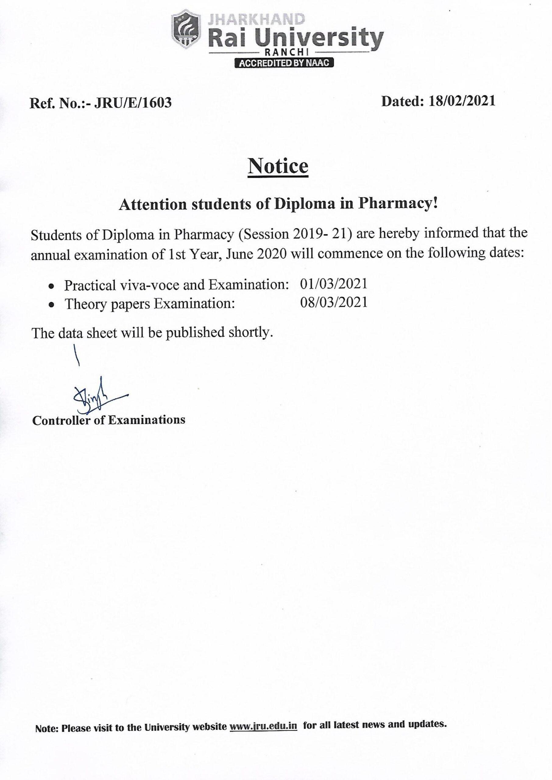 notice pharmacy Exam 21